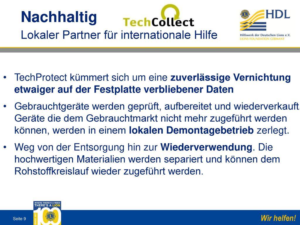Nachhaltig Lokaler Partner für internationale Hilfe