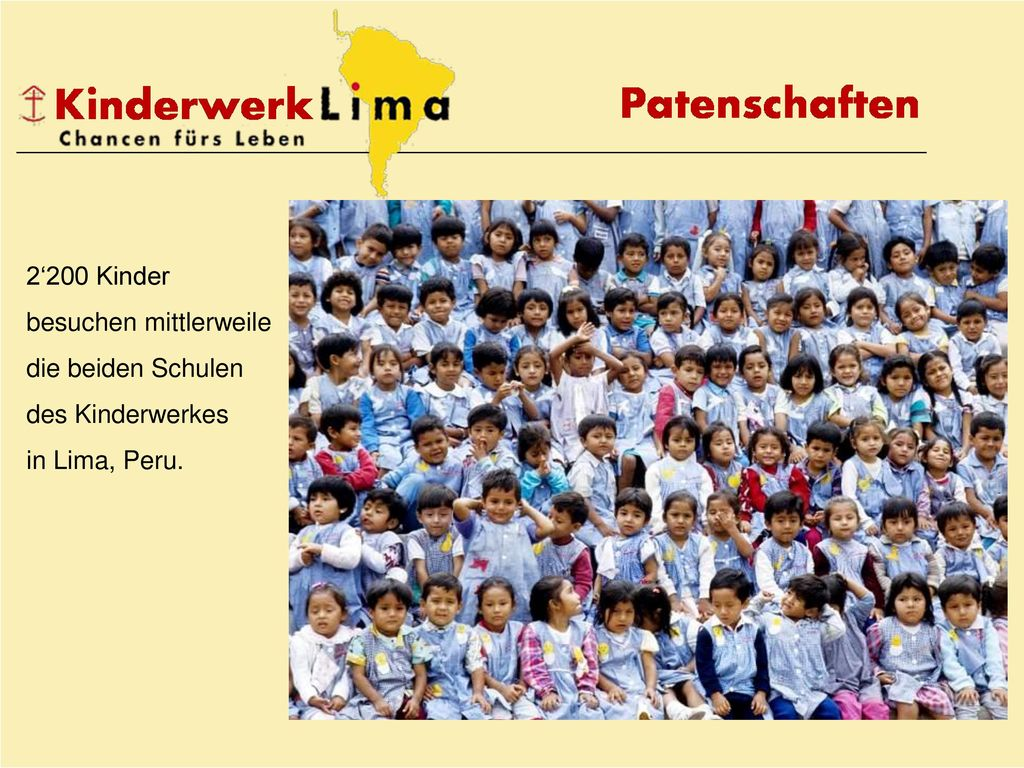 2'200 Kinder besuchen mittlerweile die beiden Schulen des Kinderwerkes in Lima, Peru.