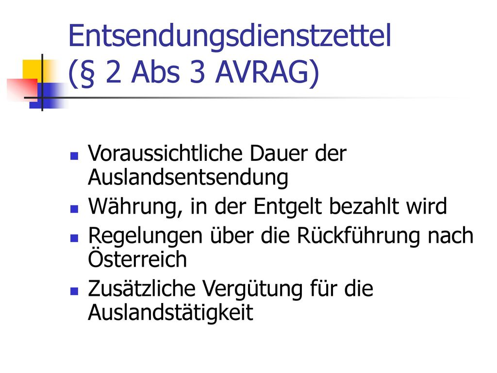 Entsendungsdienstzettel (§ 2 Abs 3 AVRAG)