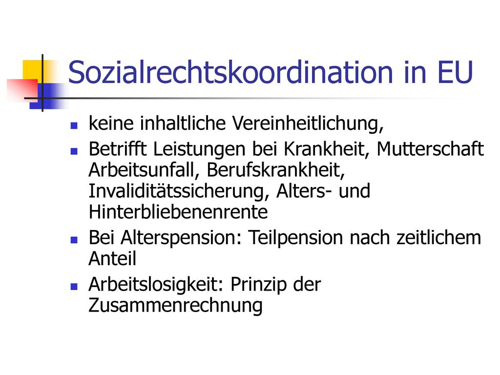 Sozialrechtskoordination in EU