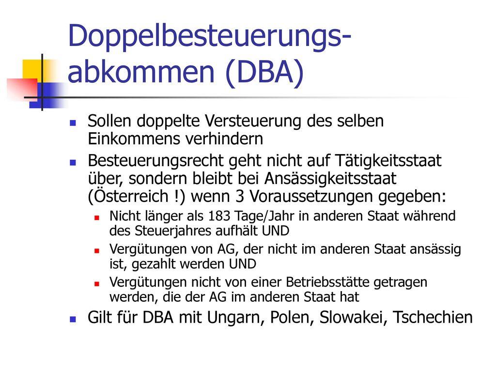 Doppelbesteuerungs-abkommen (DBA)