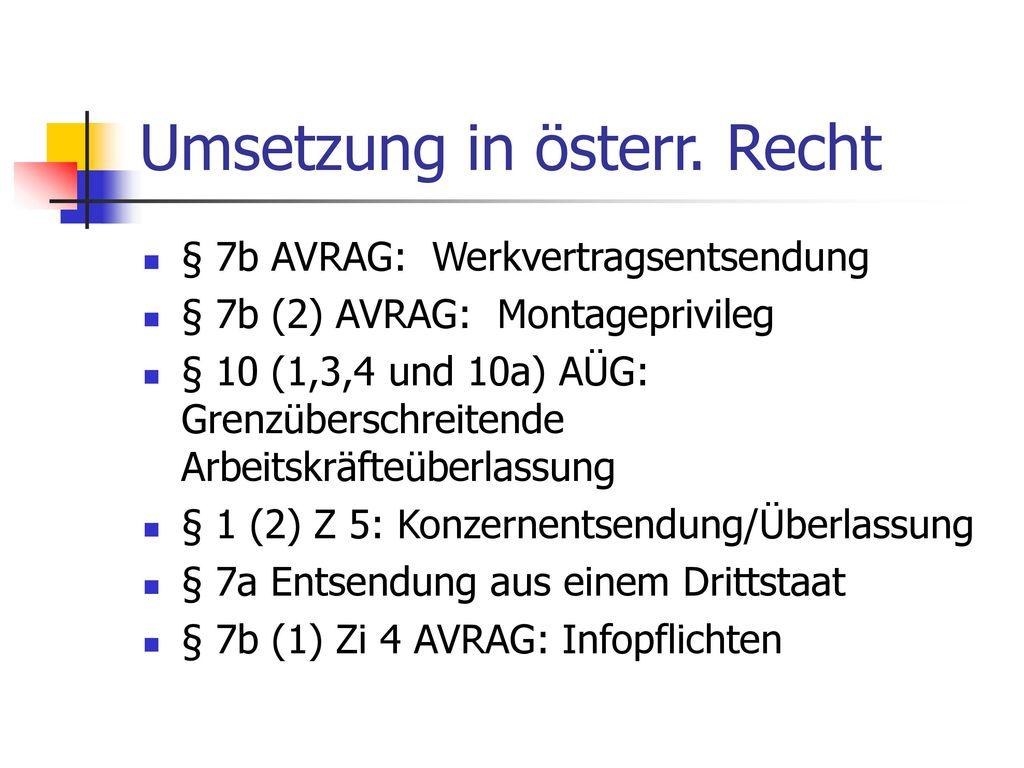 Umsetzung in österr. Recht