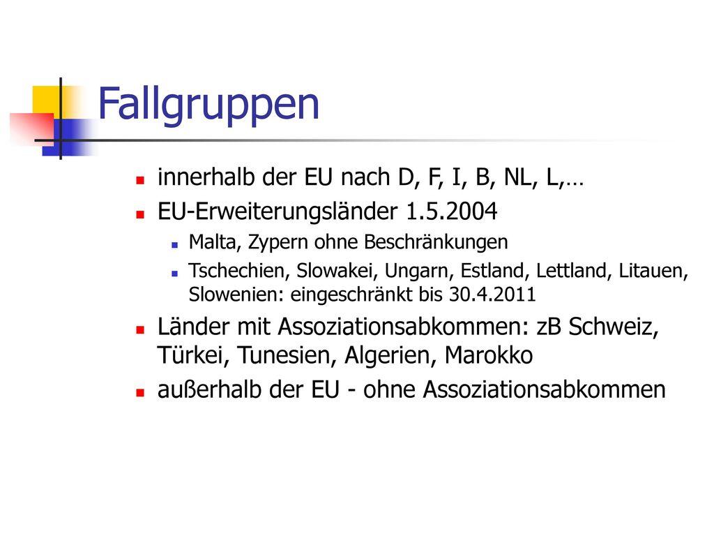 Fallgruppen innerhalb der EU nach D, F, I, B, NL, L,…