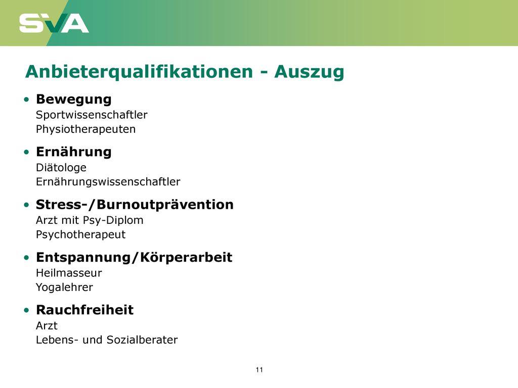 Anbieterqualifikationen - Auszug
