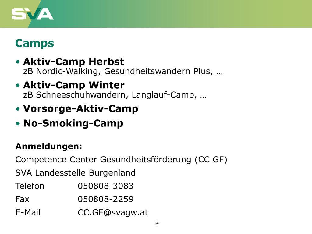 Camps Aktiv-Camp Herbst zB Nordic-Walking, Gesundheitswandern Plus, …