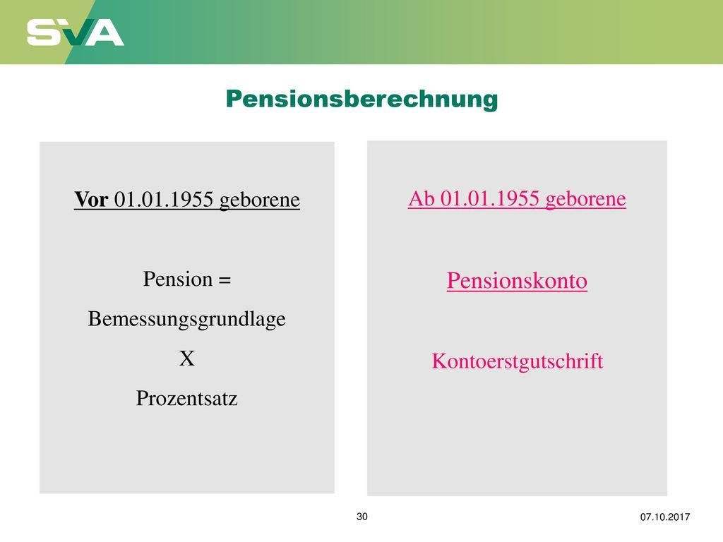 Pensionsberechnung Pensionskonto Vor 01.01.1955 geborene
