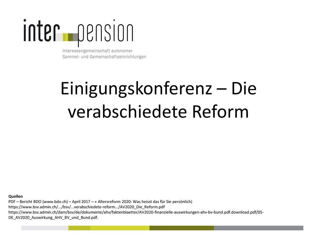 Einigungskonferenz – Die verabschiedete Reform