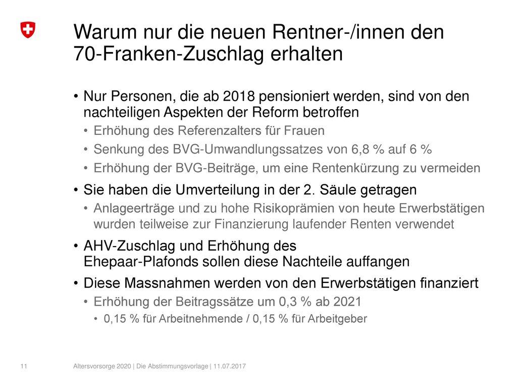 Warum nur die neuen Rentner-/innen den 70-Franken-Zuschlag erhalten
