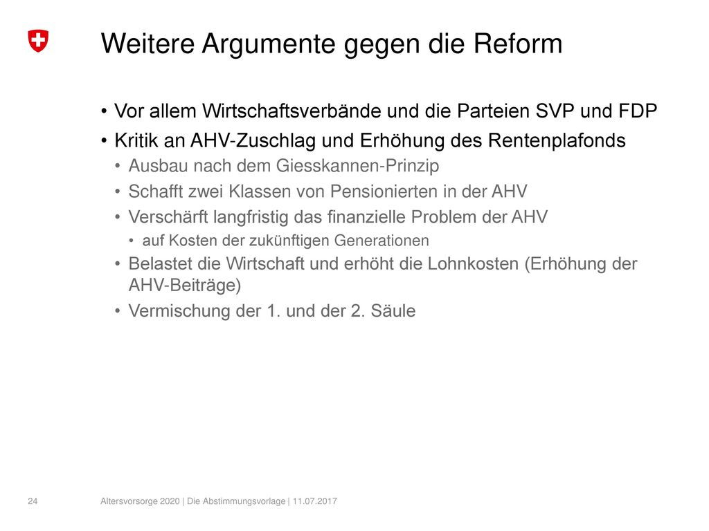 Weitere Argumente gegen die Reform