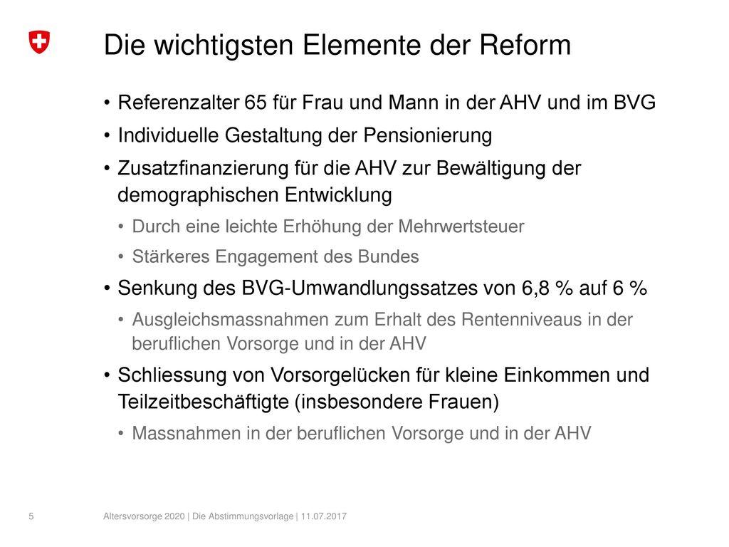 Die wichtigsten Elemente der Reform