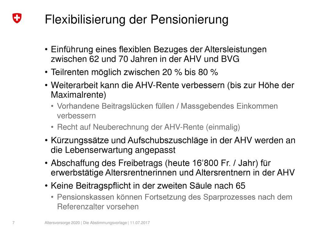 Flexibilisierung der Pensionierung