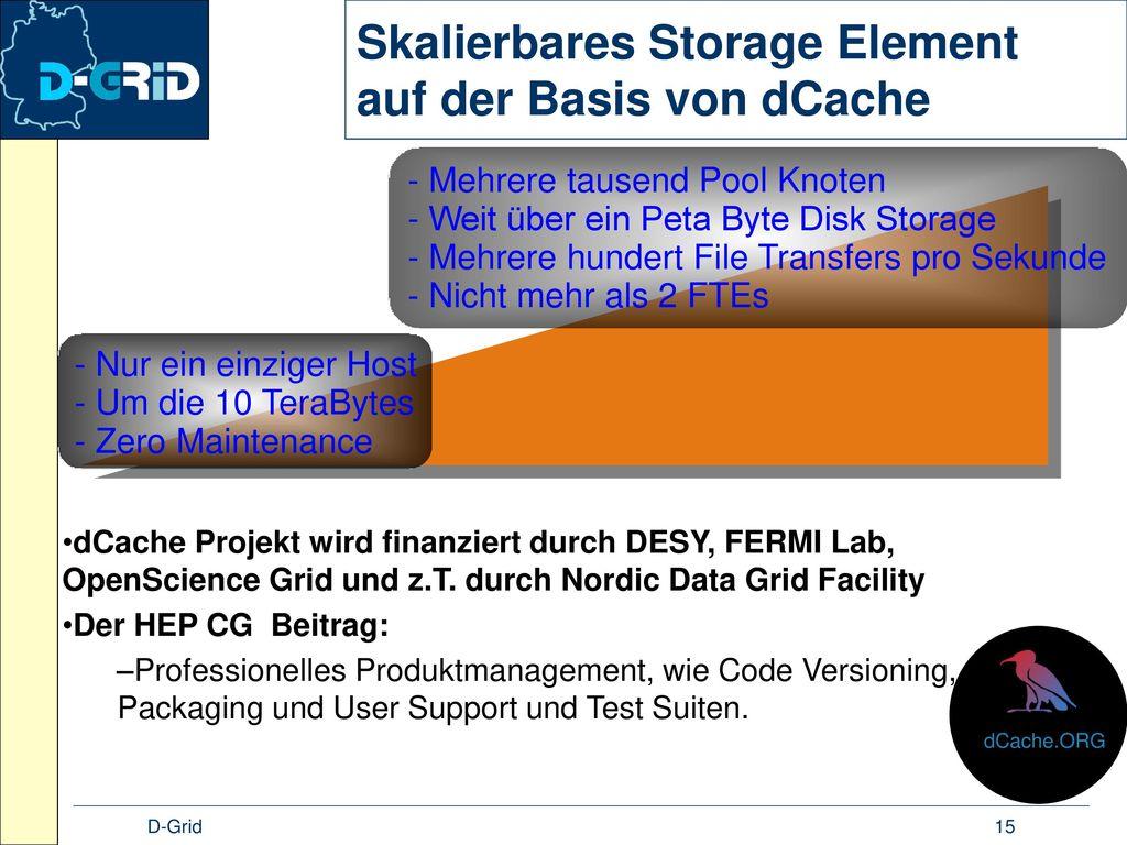 Skalierbares Storage Element auf der Basis von dCache