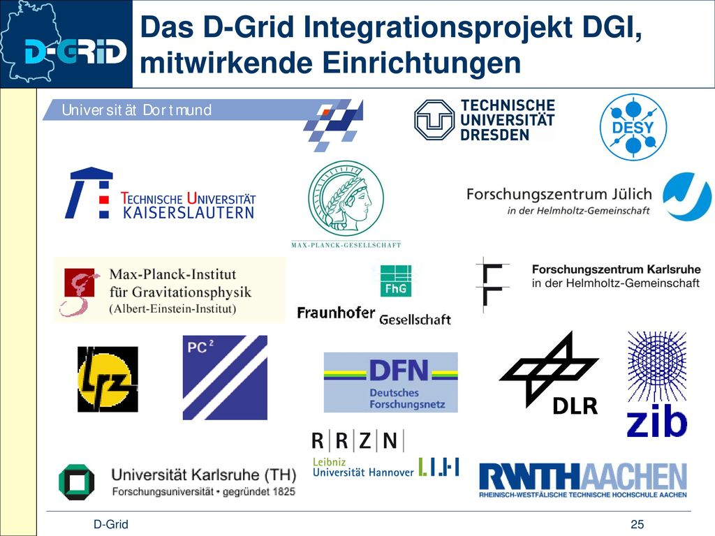 Das D-Grid Integrationsprojekt DGI, mitwirkende Einrichtungen