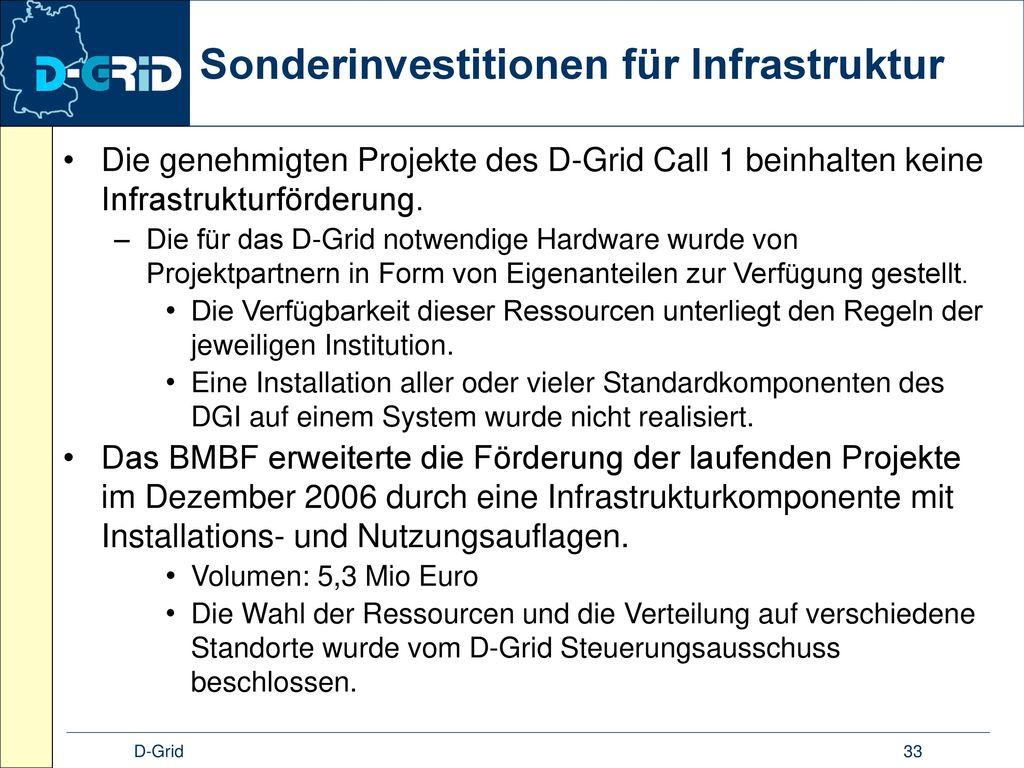 Sonderinvestitionen für Infrastruktur