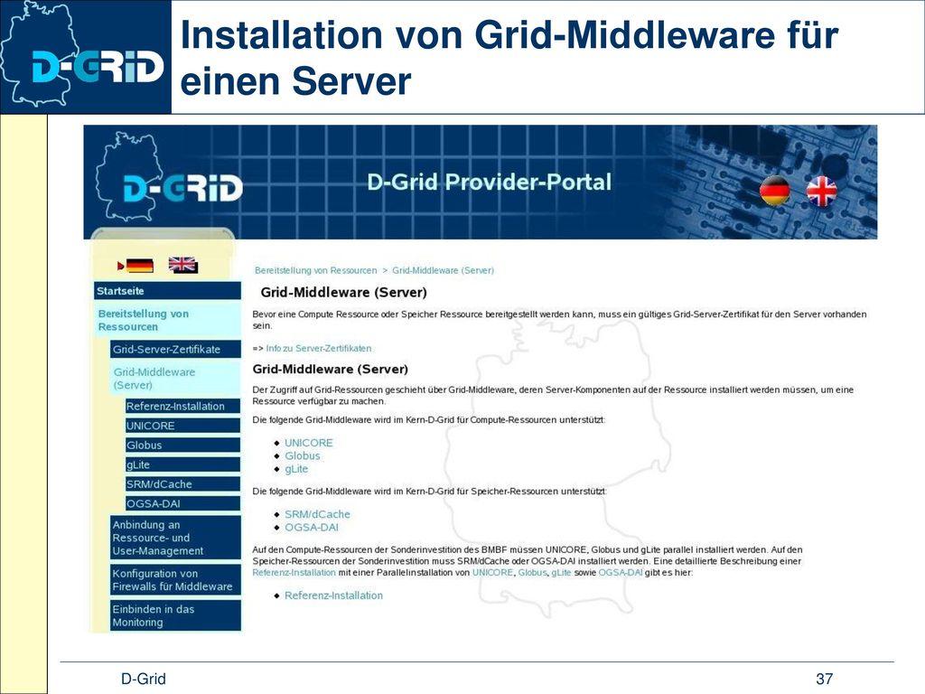 Installation von Grid-Middleware für einen Server