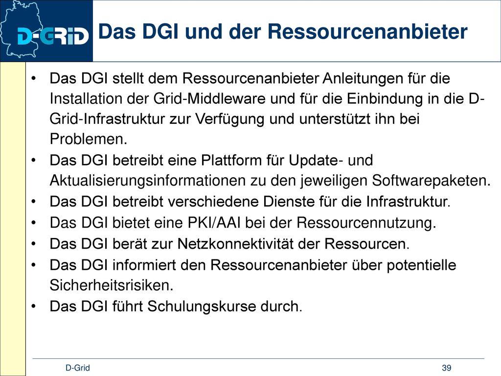 Das DGI und der Ressourcenanbieter