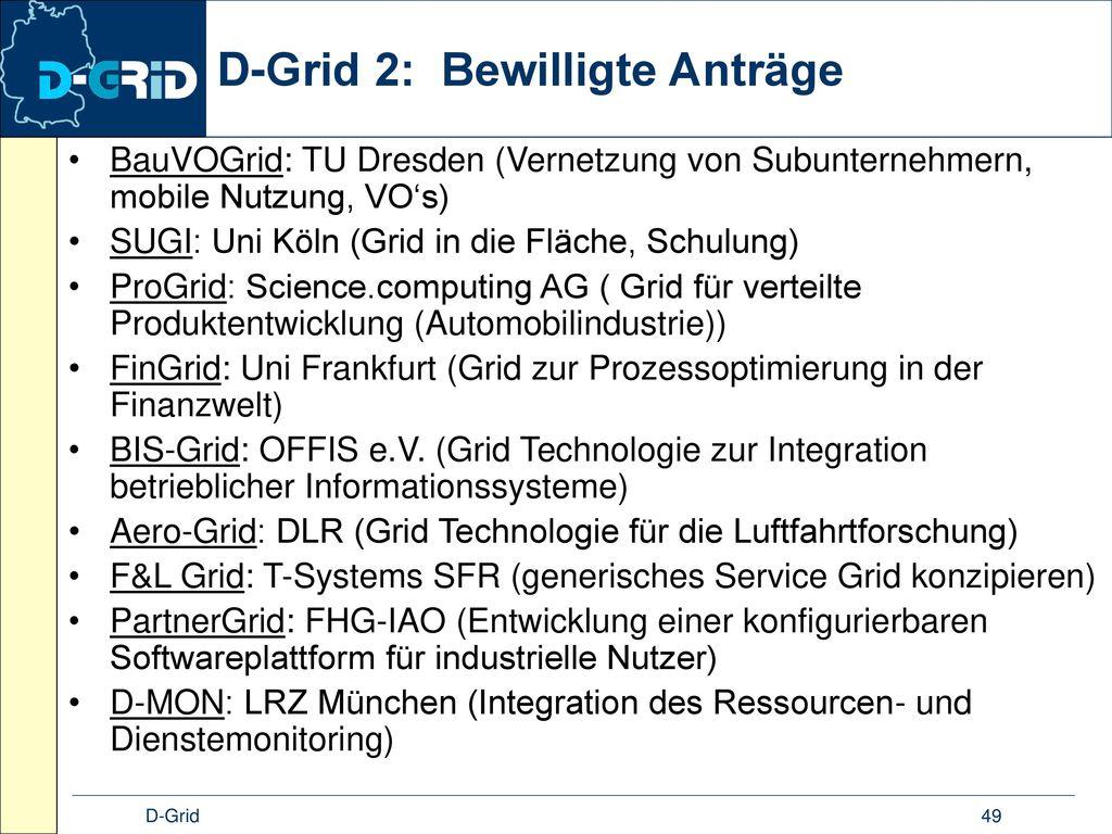 D-Grid 2: Bewilligte Anträge