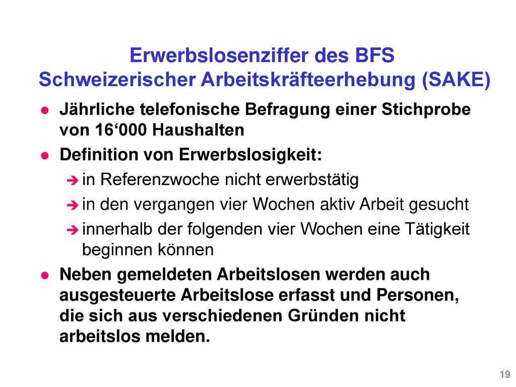 Erwerbslosenziffer des BFS Schweizerischer Arbeitskräfteerhebung (SAKE)