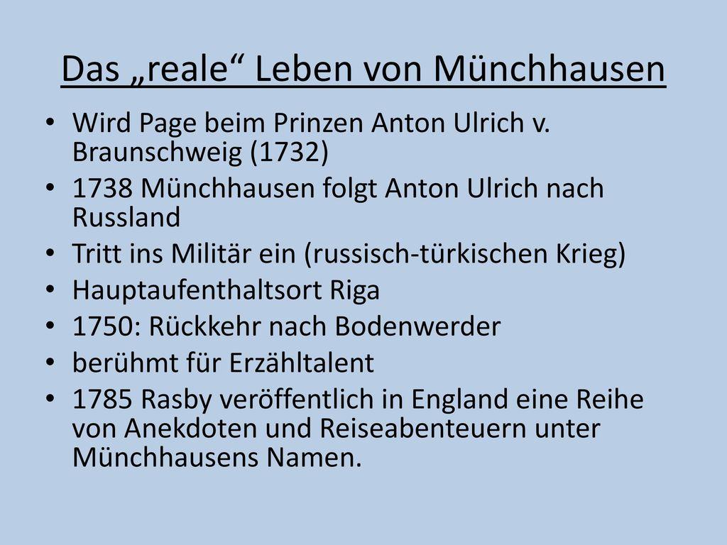 """Das """"reale Leben von Münchhausen"""