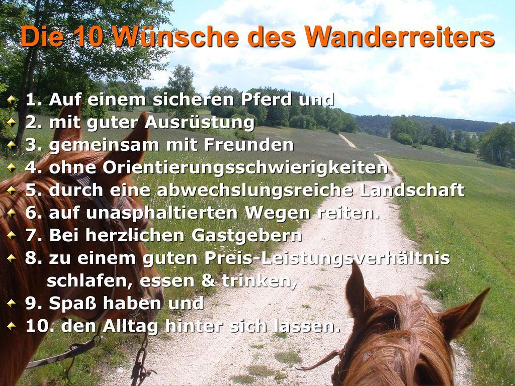 Die 10 Wünsche des Wanderreiters