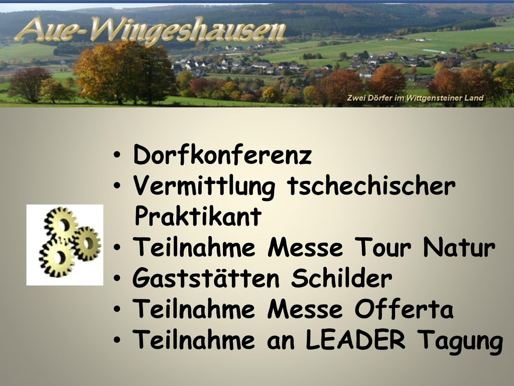 Dorfkonferenz Vermittlung tschechischer. Praktikant. Teilnahme Messe Tour Natur. Gaststätten Schilder.