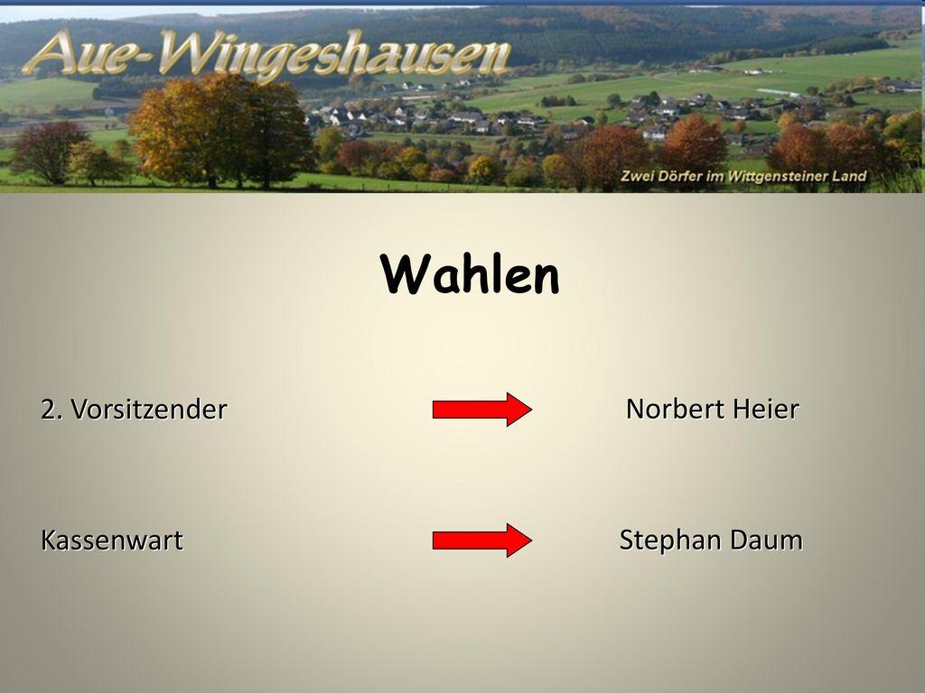 Wahlen 2. Vorsitzender Norbert Heier Kassenwart Stephan Daum