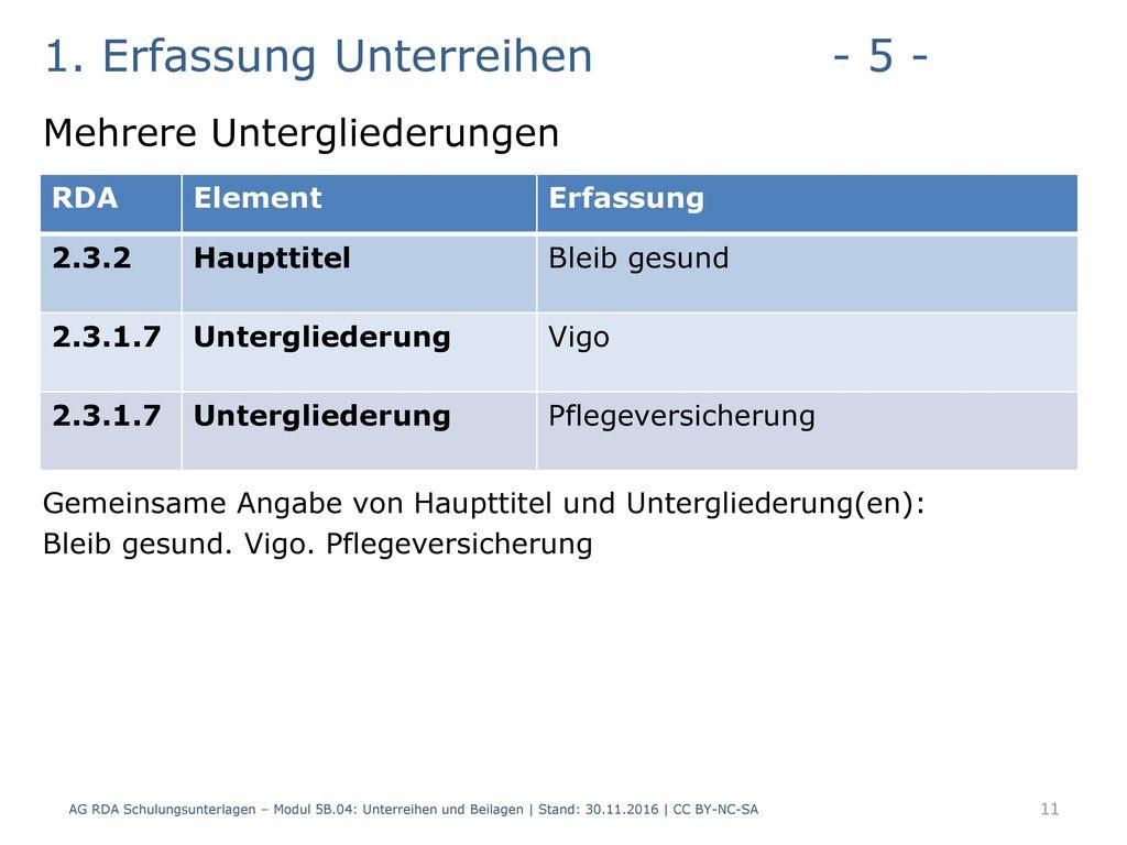 1. Erfassung Unterreihen - 5 -