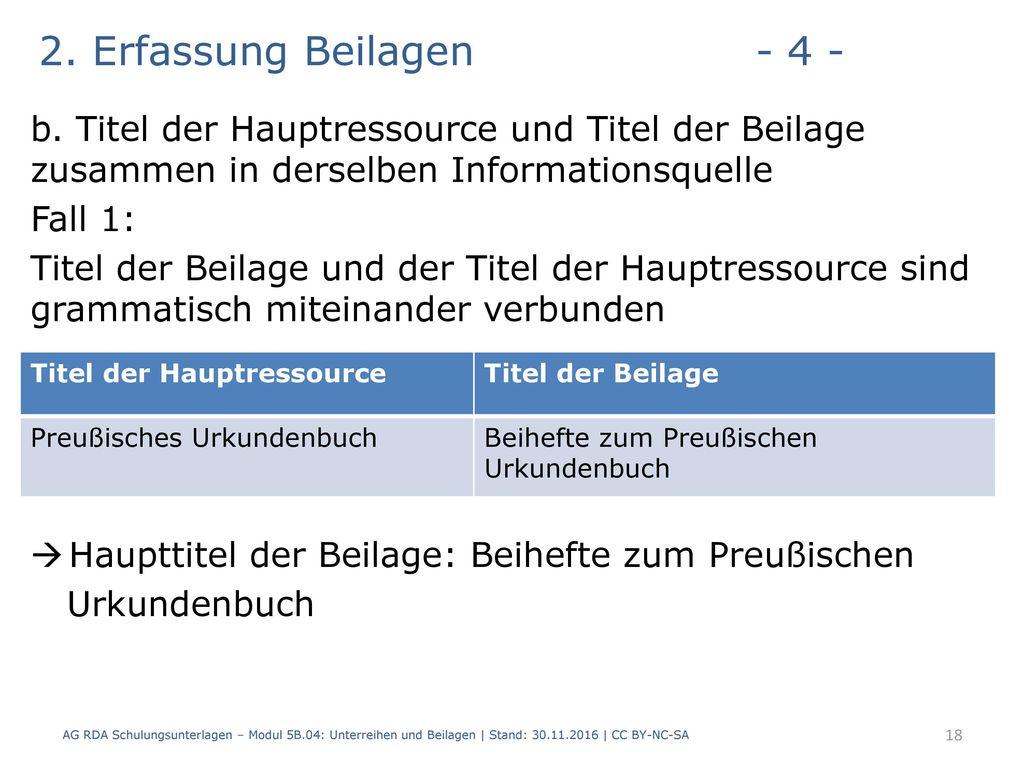 2. Erfassung Beilagen - 4 - b. Titel der Hauptressource und Titel der Beilage zusammen in derselben Informationsquelle.