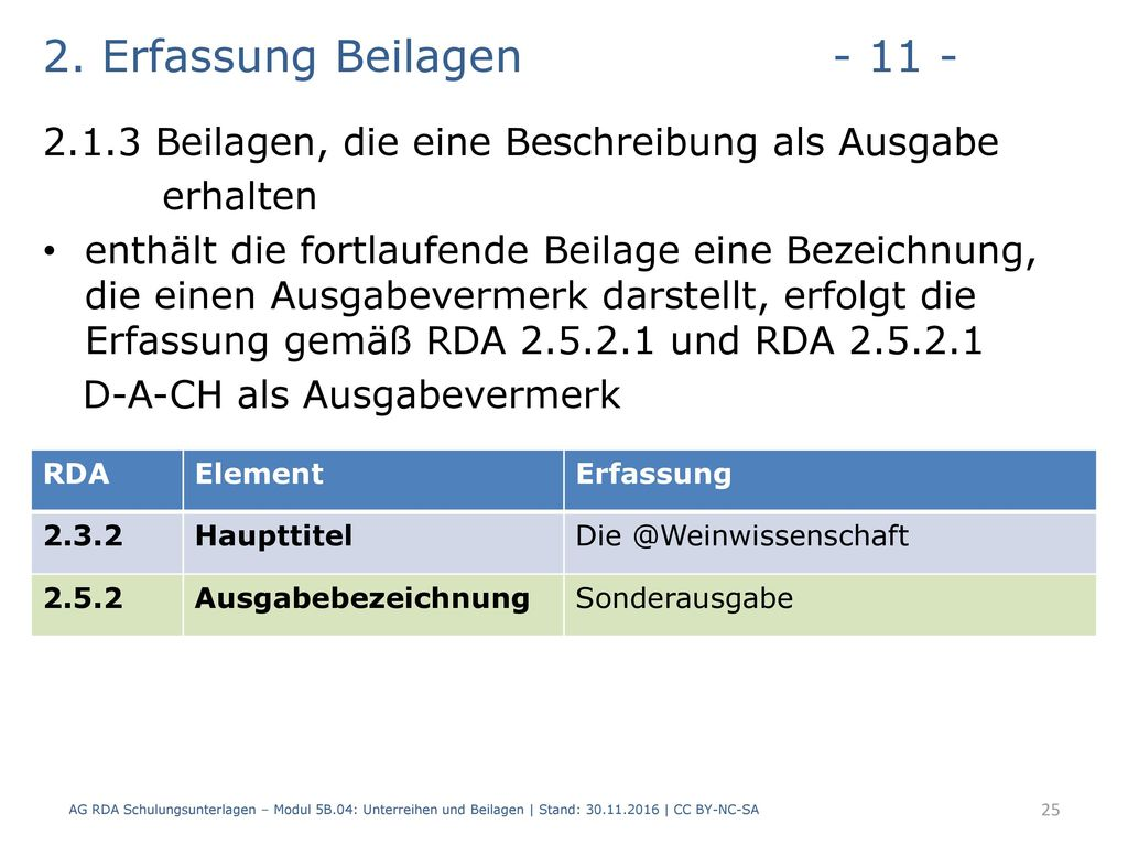 2. Erfassung Beilagen - 11 - 2.1.3 Beilagen, die eine Beschreibung als Ausgabe. erhalten.