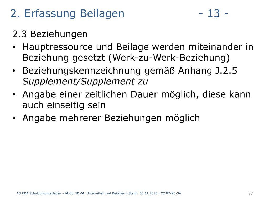 2. Erfassung Beilagen - 13 - 2.3 Beziehungen