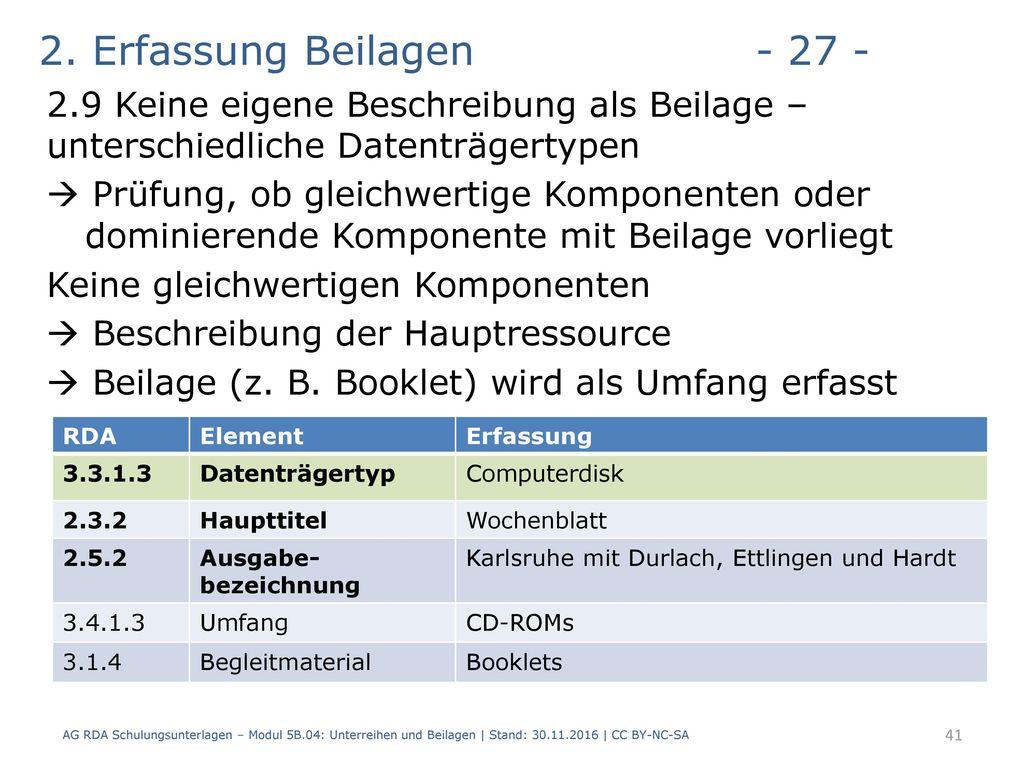 2. Erfassung Beilagen - 27 - 2.9 Keine eigene Beschreibung als Beilage – unterschiedliche Datenträgertypen.