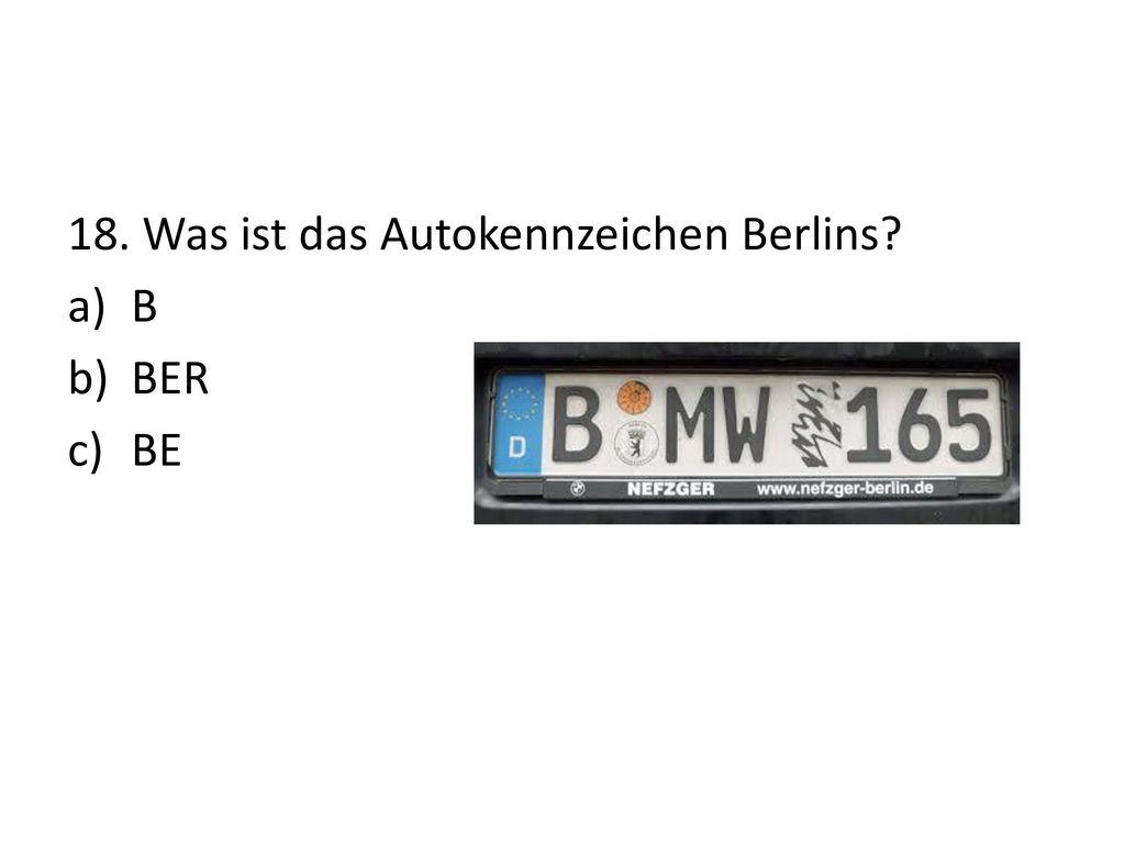 18. Was ist das Autokennzeichen Berlins