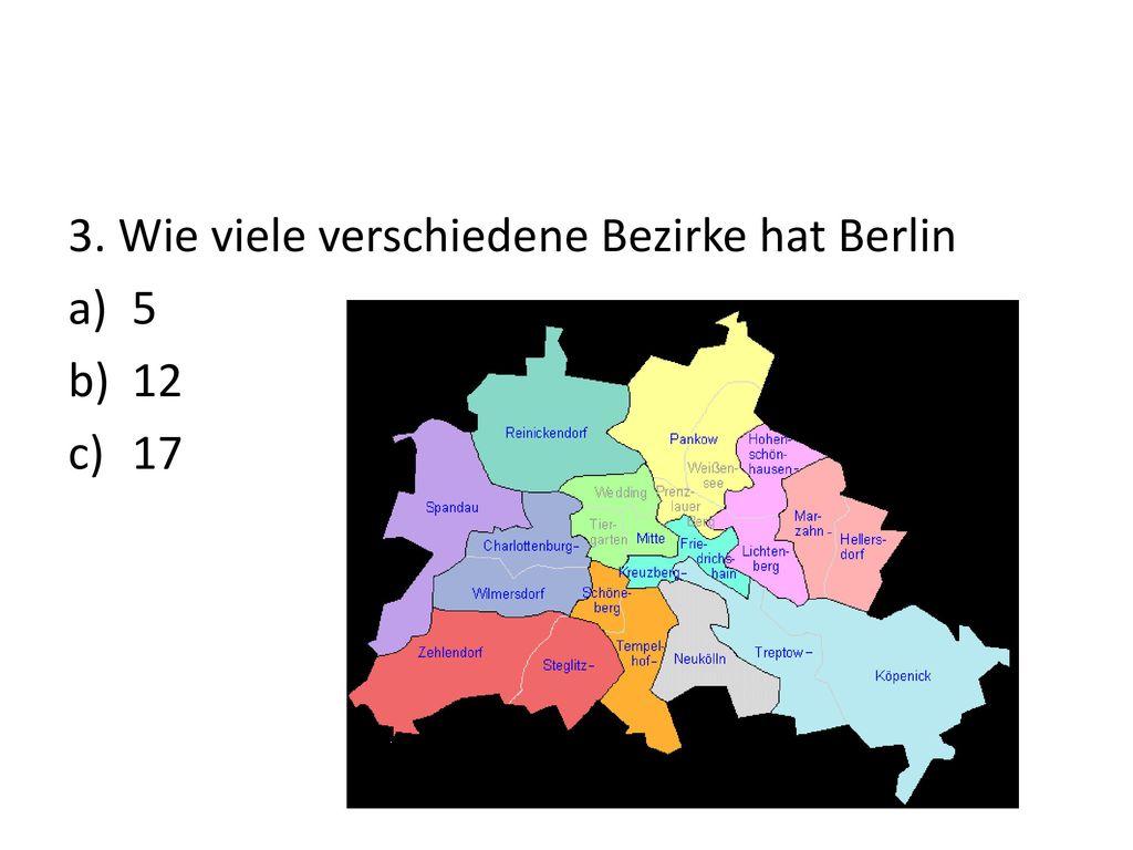 3. Wie viele verschiedene Bezirke hat Berlin