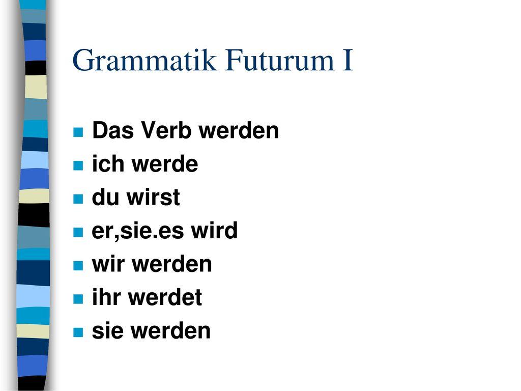 Grammatik Futurum I Das Verb werden ich werde du wirst er,sie.es wird