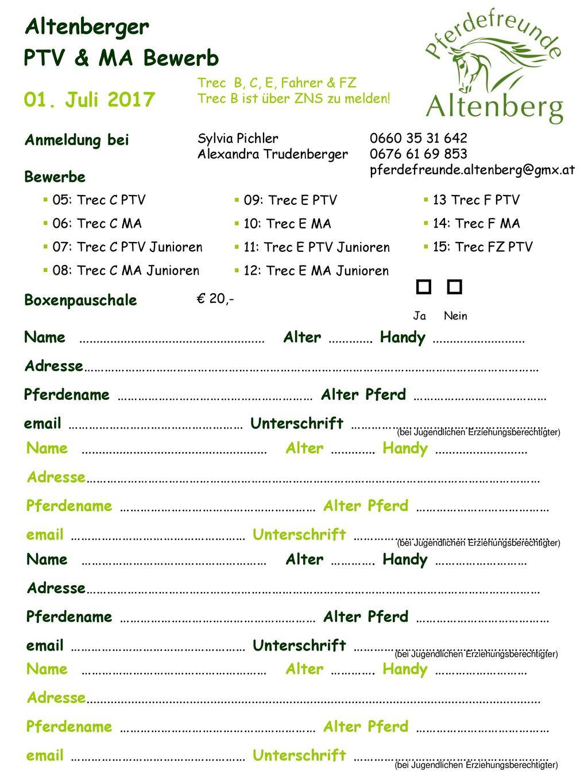 Altenberger PTV & MA Bewerb 01. Juli 2017