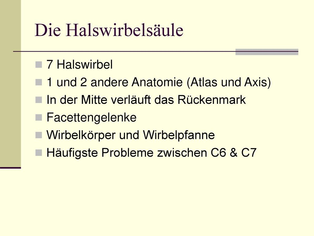 Die Halswirbelsäule 7 Halswirbel