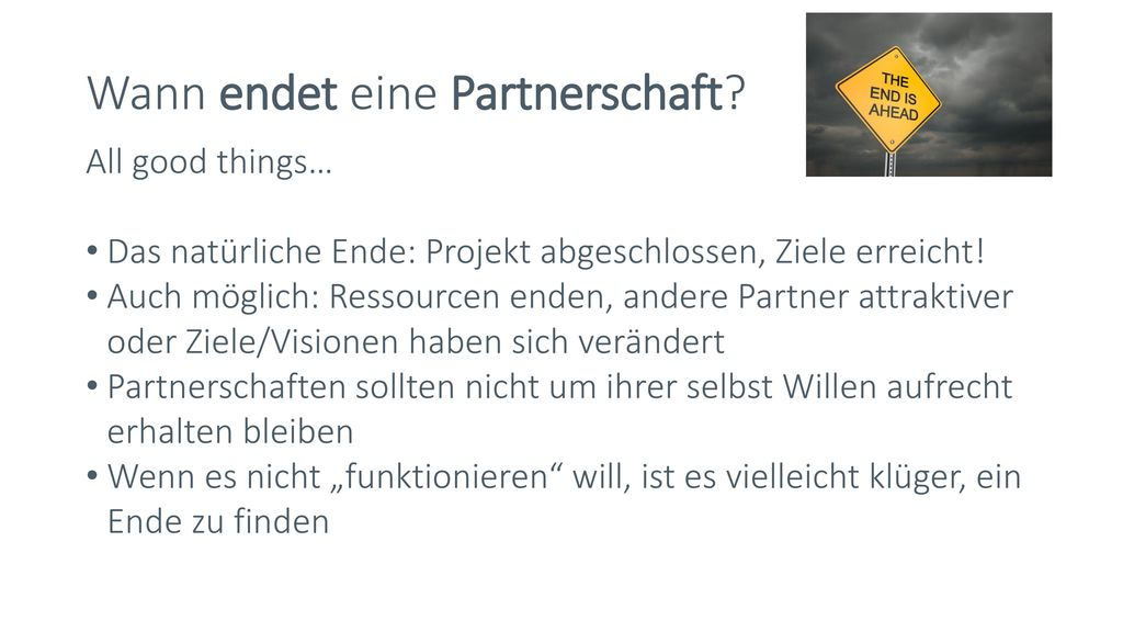 Wann endet eine Partnerschaft