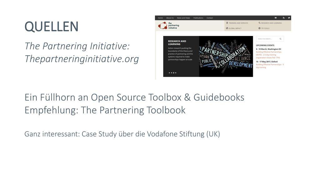 QUELLEN The Partnering Initiative: Thepartneringinitiative.org