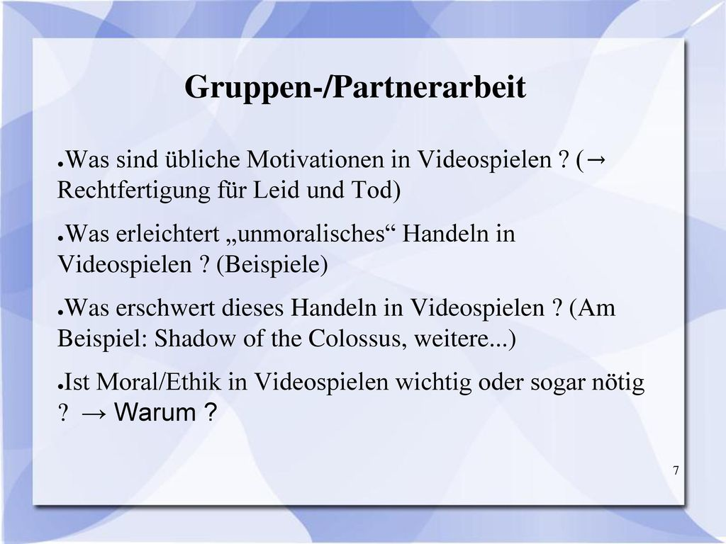 Gruppen-/Partnerarbeit