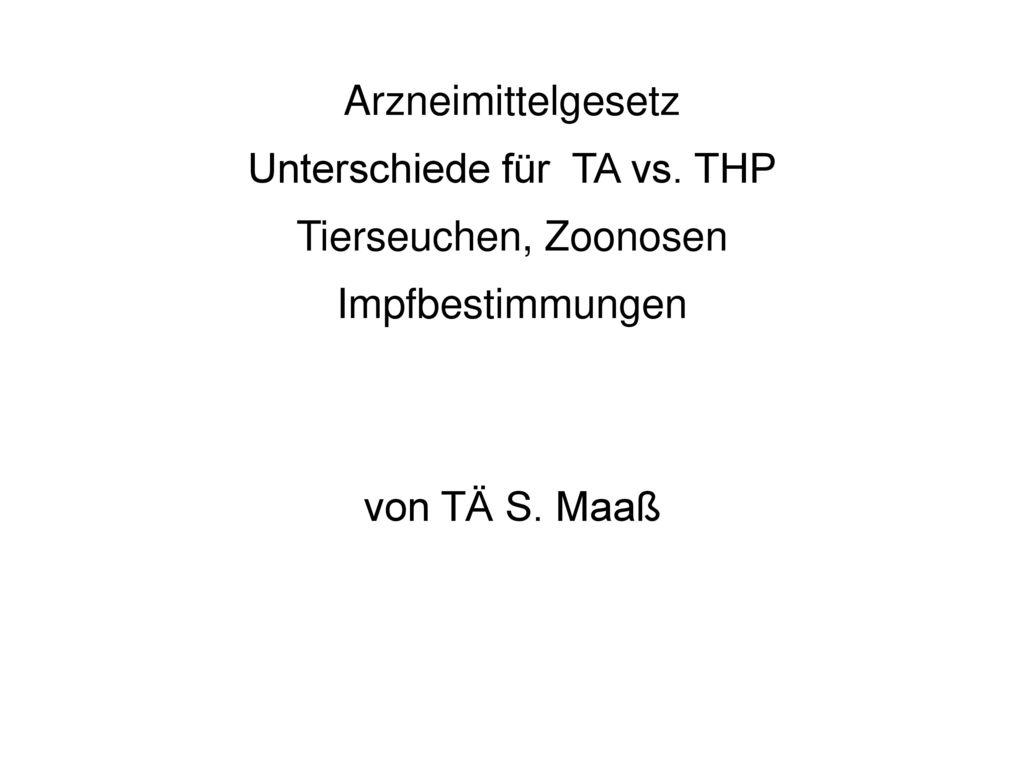 Unterschiede für TA vs. THP