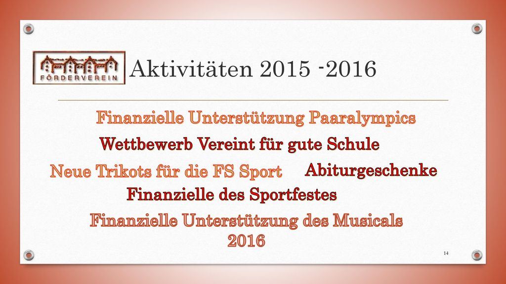 Aktivitäten 2015 -2016 Finanzielle Unterstützung Paaralympics