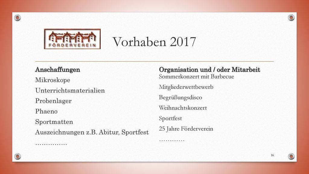 Vorhaben 2017 Anschaffungen Mikroskope Unterrichtsmaterialien Probenlager Phaeno Sportmatten Auszeichnungen z.B. Abitur, Sportfest ……………