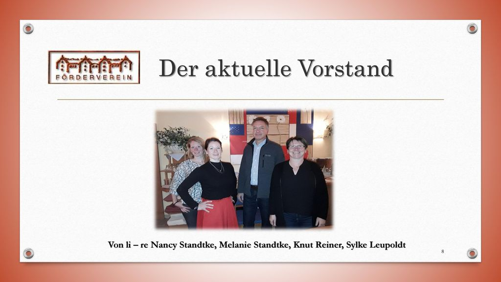 Der aktuelle Vorstand Von li – re Nancy Standtke, Melanie Standtke, Knut Reiner, Sylke Leupoldt