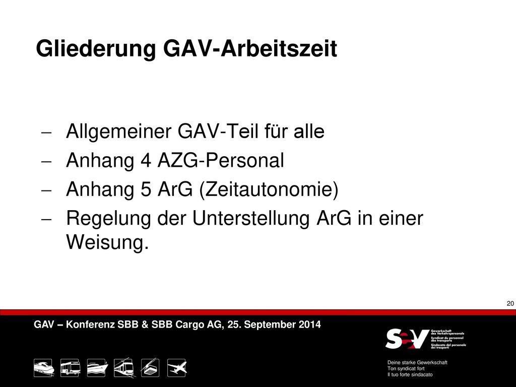 Gliederung GAV-Arbeitszeit