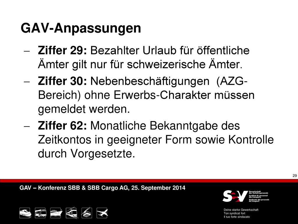 GAV-Anpassungen Ziffer 29: Bezahlter Urlaub für öffentliche Ämter gilt nur für schweizerische Ämter.
