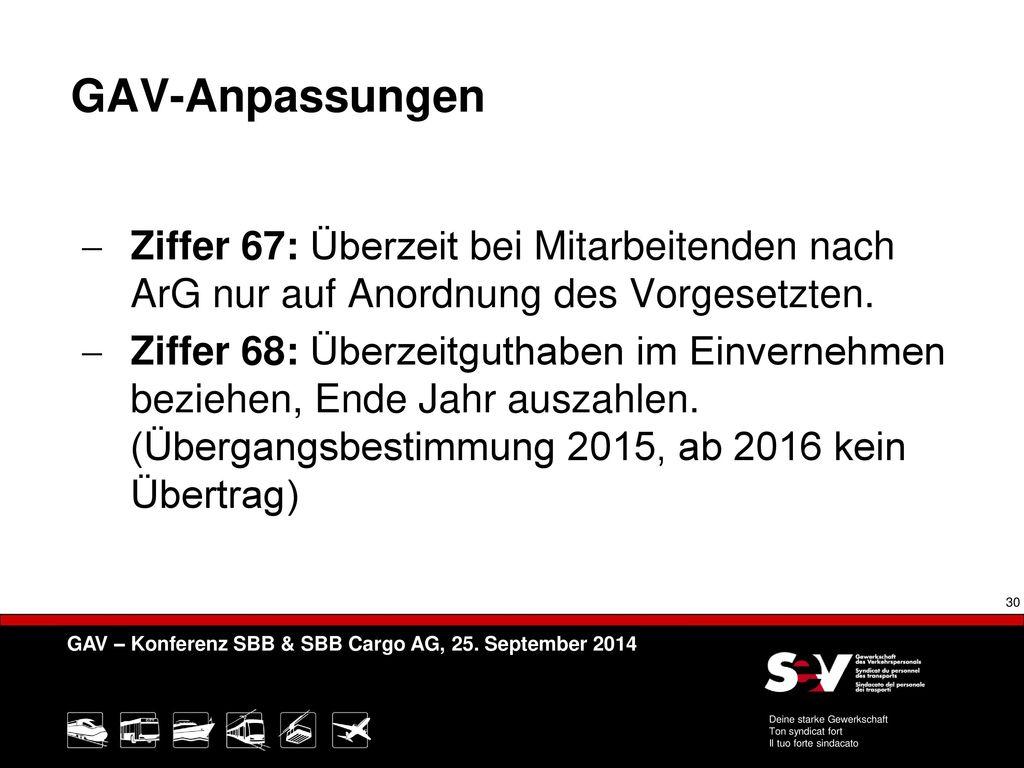 GAV-Anpassungen Ziffer 67: Überzeit bei Mitarbeitenden nach ArG nur auf Anordnung des Vorgesetzten.