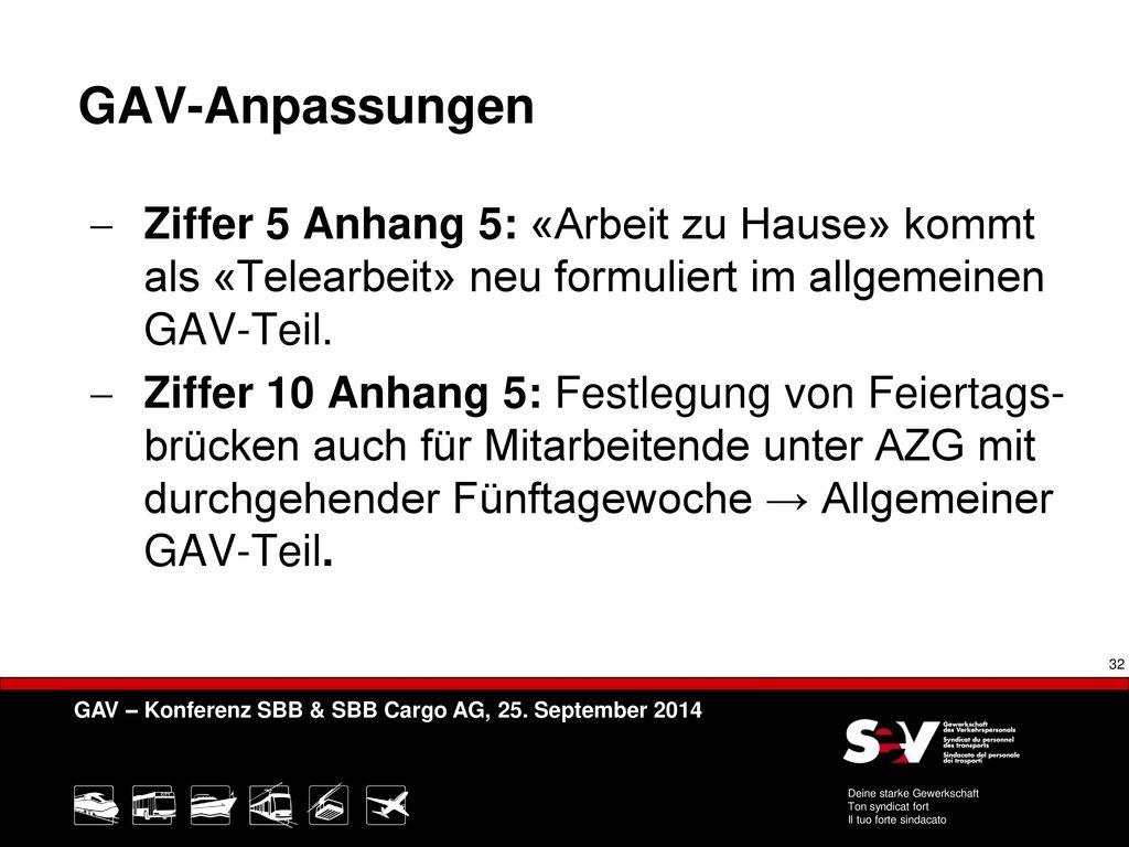 GAV-Anpassungen Ziffer 5 Anhang 5: «Arbeit zu Hause» kommt als «Telearbeit» neu formuliert im allgemeinen GAV-Teil.