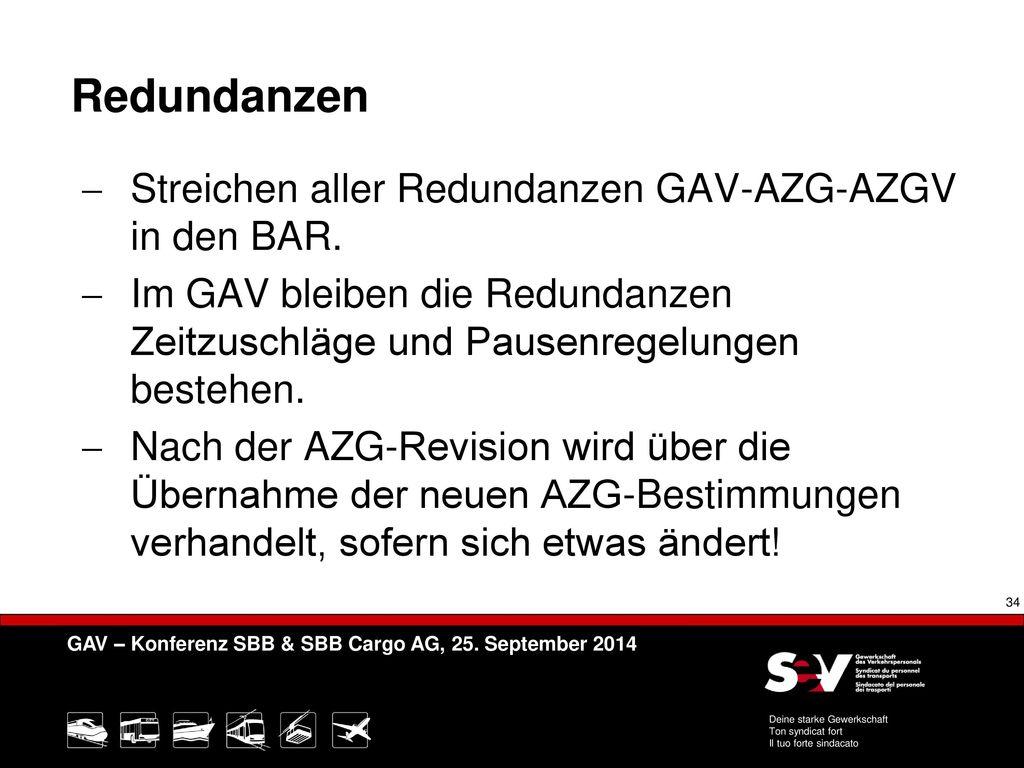 Redundanzen Streichen aller Redundanzen GAV-AZG-AZGV in den BAR.