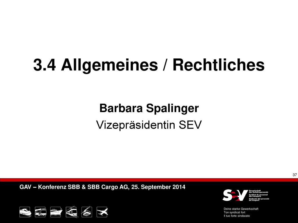 3.4 Allgemeines / Rechtliches Barbara Spalinger Vizepräsidentin SEV