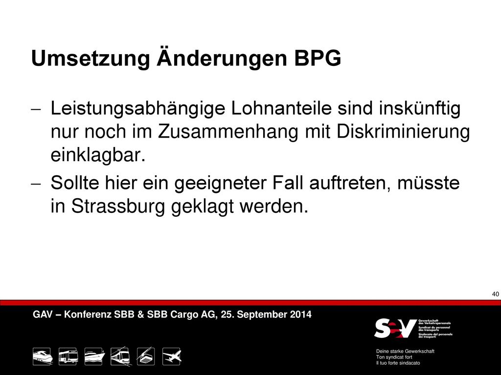 Umsetzung Änderungen BPG